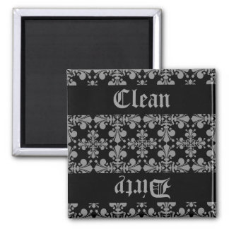 Elegant gothic fleur de lis damask clean dirty magnet