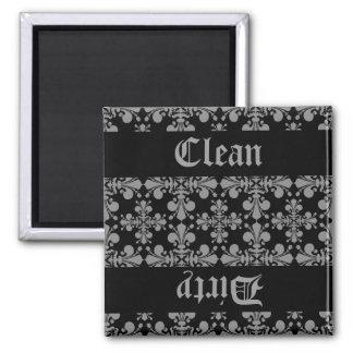 Elegant gothic fleur de lis damask clean dirty square magnet