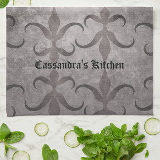 Elegant gothic gray design personalized kitchen towel