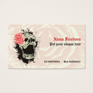 Elegant gothic grunge skull and red rose custom business card