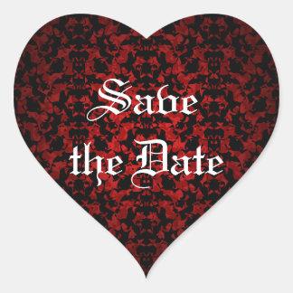 Elegant Gothic Save the Date envelope seals Heart Sticker