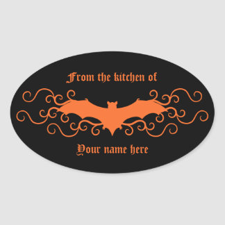 Elegant gothic victorian bat in orange on black oval sticker