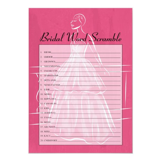 Elegant Gown Bridal Shower Word Scramble Game Card