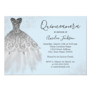 Quinceaera invitations zazzle elegant gown dusty blue quinceanera invitation stopboris Choice Image