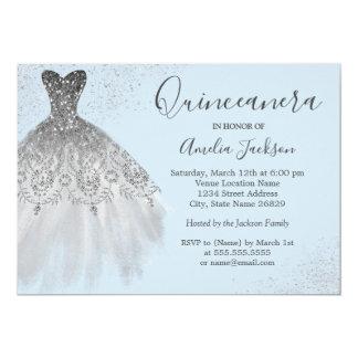 Elegant Gown Dusty Blue Quinceanera Invitation