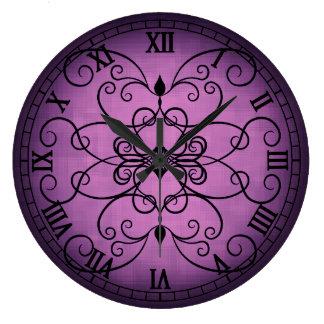 Elegant gradient pinkish purple large clock