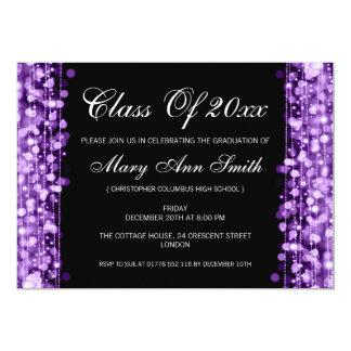 Elegant Graduation Party Purple Lights & Sparkles Custom Invitations