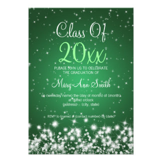 Elegant Graduation Party Winter Sparkle Green Personalized Invites