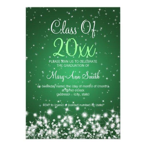 Elegant Graduation Party Winter Sparkle Green Personalized Invites