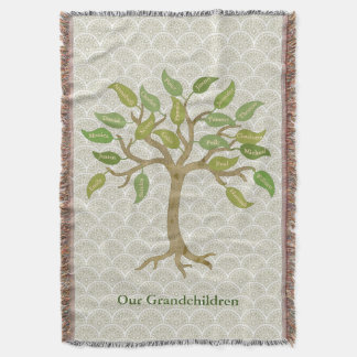 Elegant Grandparent's 21 Leaf Tree Throw Blanket