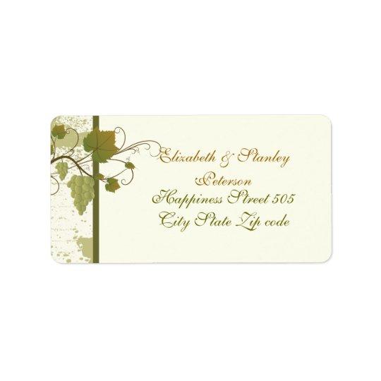 Elegant grapevine fall wedding label