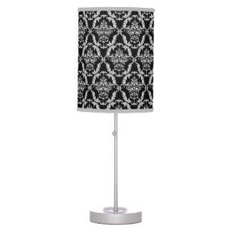 Elegant Gray and Black Damask Pattern Table Lamp