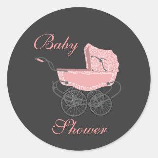 Elegant Gray and Pink Baby Shower Sticker
