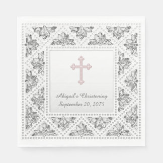 Elegant Gray and Pink Cross Disposable Napkin