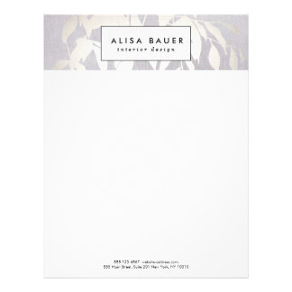 Elegant Gray and Silver Leaves Professional Letterhead