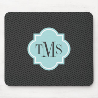 Elegant gray and teal 3 letter monogram mouse pad