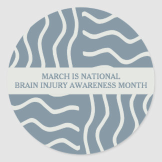 Elegant Gray Brain Injury Awareness Month Classic Round Sticker