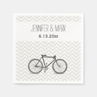 Elegant Gray Chevron Vintage Bicycle Wedding 2 Paper Napkin