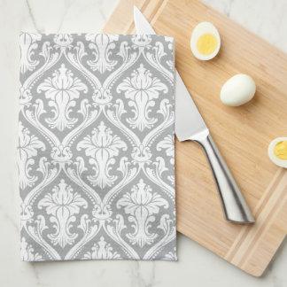 Elegant Gray Damask kitchen towel