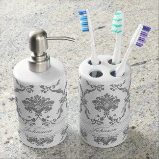 Elegant Gray Damask Pattern Customizable Bathroom Set