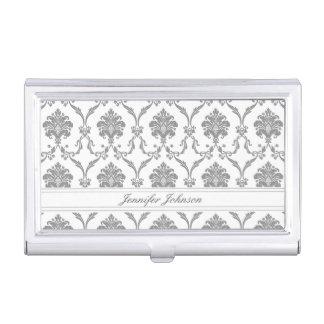 Elegant Gray Damask Pattern Customizable Business Card Holder