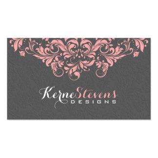 Elegant Gray Damasks & Pink Lace Swirls Business Card Template