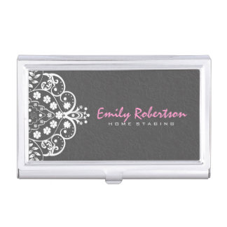Elegant Gray Damasks White Vintage Lace 2a Business Card Holder