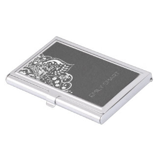 Elegant Gray Damasks White Vintage Lace Business Card Holder