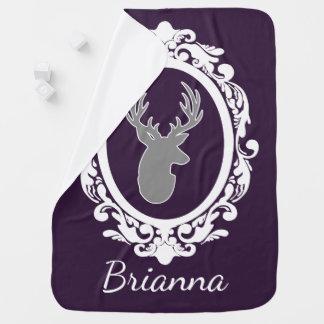 Elegant Gray Deer & Scrolled Frame Baby's Name Baby Blanket