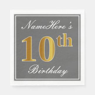 Elegant Gray, Faux Gold 10th Birthday; Custom Name Napkin
