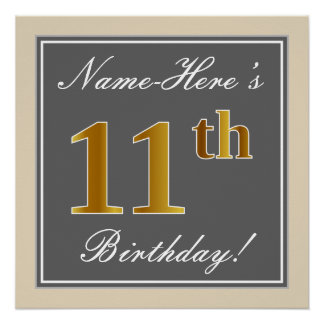 Elegant, Gray, Faux Gold 11th Birthday + Name Poster