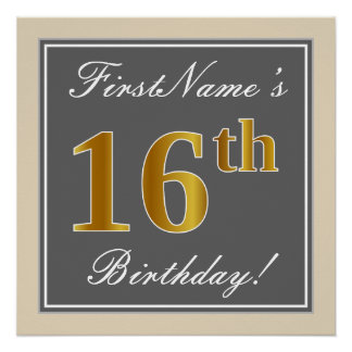 Elegant, Gray, Faux Gold 16th Birthday + Name Poster