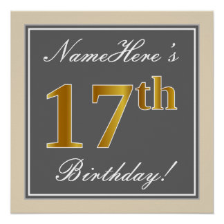 Elegant, Gray, Faux Gold 17th Birthday + Name Poster