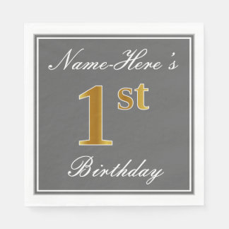 Elegant Gray, Faux Gold 1st Birthday + Custom Name Paper Napkin