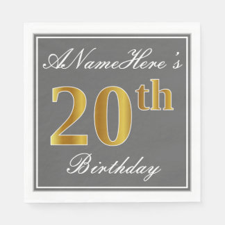 Elegant Gray, Faux Gold 20th Birthday; Custom Name Paper Napkin
