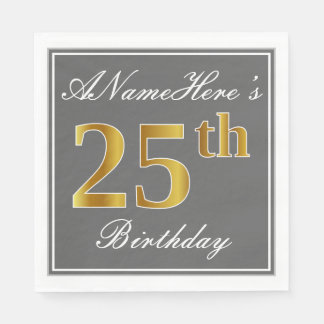 Elegant Gray, Faux Gold 25th Birthday; Custom Name Disposable Napkin