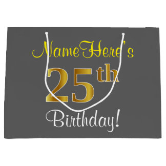 Elegant, Gray, Faux Gold 25th Birthday + Name Large Gift Bag