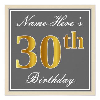 Elegant, Gray, Faux Gold 30th Birthday + Name Card