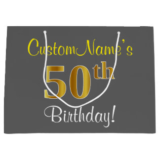 Elegant, Gray, Faux Gold 50th Birthday + Name Large Gift Bag