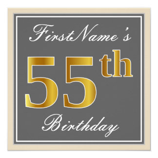 Elegant, Gray, Faux Gold 55th Birthday + Name Card