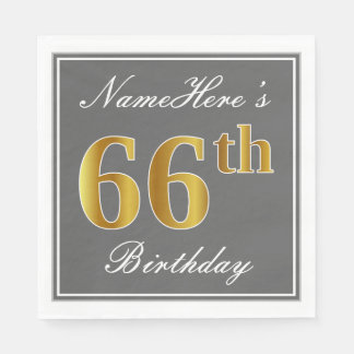 Elegant Gray, Faux Gold 66th Birthday; Custom Name Paper Napkin