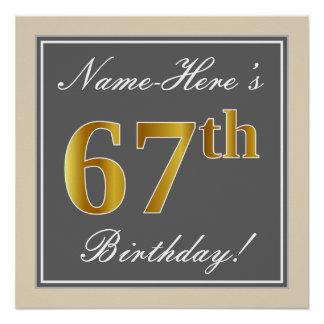 Elegant, Gray, Faux Gold 67th Birthday + Name Poster
