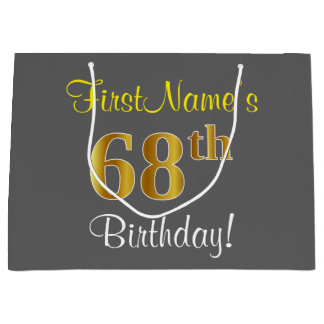 Elegant, Gray, Faux Gold 68th Birthday + Name Large Gift Bag