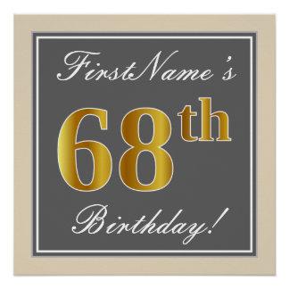 Elegant, Gray, Faux Gold 68th Birthday + Name Poster