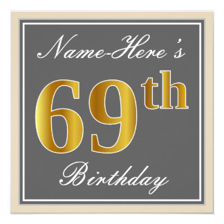 Elegant, Gray, Faux Gold 69th Birthday + Name Card