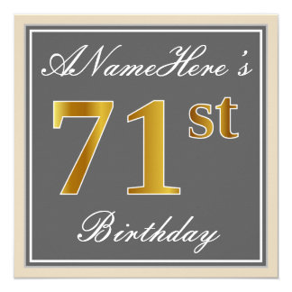 Elegant, Gray, Faux Gold 71st Birthday + Name Card