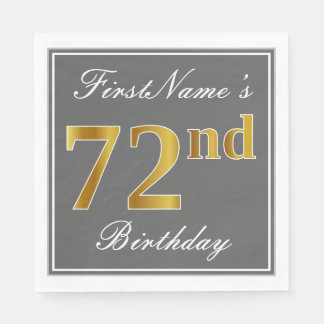 Elegant Gray, Faux Gold 72nd Birthday; Custom Name Paper Napkins