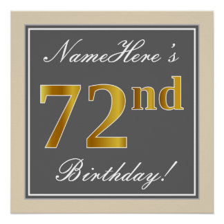 Elegant, Gray, Faux Gold 72nd Birthday + Name Poster