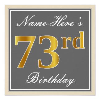 Elegant, Gray, Faux Gold 73rd Birthday + Name Card