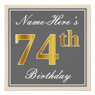 Elegant, Gray, Faux Gold 74th Birthday + Name Card